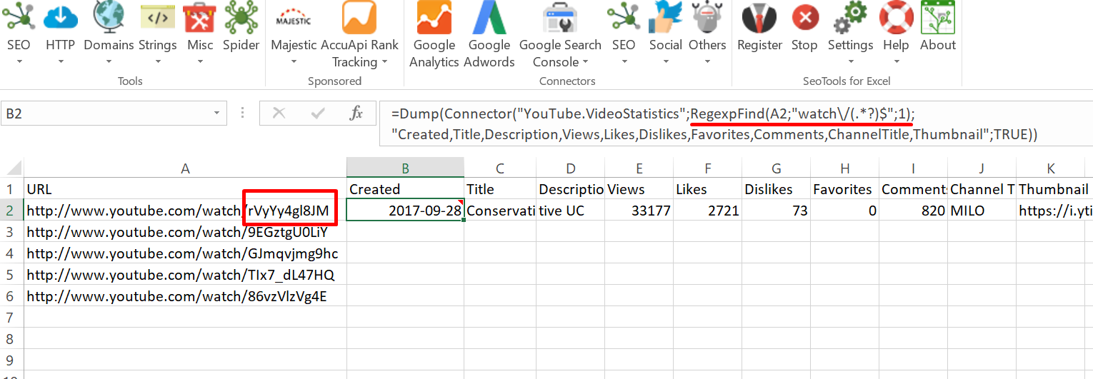 Youtube: Bulk Check Video Statistics - Support - SeoTools for Excel