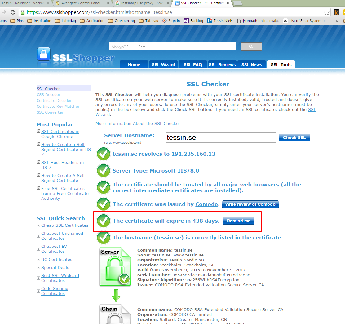 Website Ssl Expiration Date Check Support Seotools For Excel