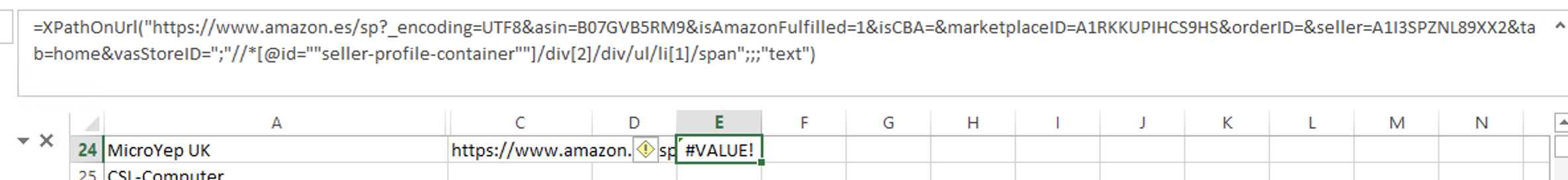 Only #VALUE with Xpath and Amazon - Support - SeoTools for Excel